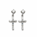 Sterling Silver Crystal CZ Ear Post Earrings
