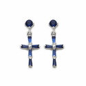 Sterling Silver Sapphire CZ Stone Cross Ear Post Earrings