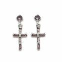 Sterling Silver Amethyst CZ Stone Cross Post Ear Earrings