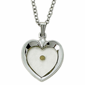 "Sterling Silver Heart Necklace with Centered Mustard Seed on 18"" Chain"