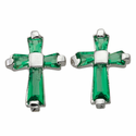 Sterling Silver Emerald Crystal Baguette Birthstone May Post Earrings