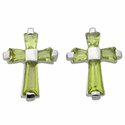Sterling Silver Peridot Crystal Baguette Birthstone August Post Earrings