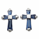 Sterling Silver Sapphire Crystal Baguette Birthstone September Post Earrings