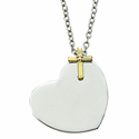 Sterling Silver 2-Tone Heart Necklace with a Centered CZ Crystal Stone Gold Cross in a Flat Front Design