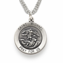 "Sterling Silver Round St. Michael Medal on 20"" Chain"