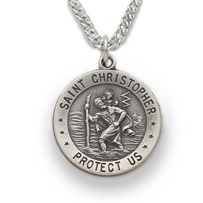 Sterling silver round st christopher medal on 20 chain mozeypictures Gallery