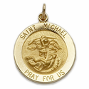 "3/4"" 14K Gold Large Round St. Michael Medal, Patron of Police"
