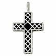 Sterling Silver Cross Necklace with Black Onyx and Silver Border Design
