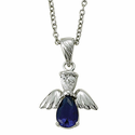 "Sterling Silver September Sapphire Birthstone Angel Necklace on 18"" Chain"