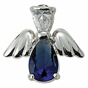 Sterling Silver September Sapphire Birthstone Angel Wing Pin