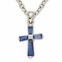 "Sterling Silver September Sapphire Birthstone Baby Cross Necklace on 13"" Chain"