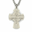 "Sterling Silver Engraved Antiqued Four Way Medal Necklace on 24"" Chain"