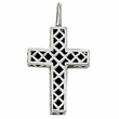 Sterling Silver Cross Necklace in a  Small Black Onyx and Silver Border Design