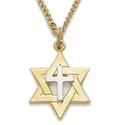 14K Gold Filled 2-Tone Star of David with Centered Cross Necklace on 18""