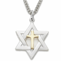 "Sterling Silver 2-Tone Star of David with Centered Cross Necklace on 24"" Chain"