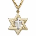 "14K Gold Over Sterling Silver 2-Tone Star of David with Centered Cross Necklace on 24"" Chain"