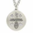 "Sterling Silver Antiqued Hand Engraved Catholic Four Way Medal Necklace on 24"" Chain"