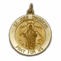 "3/4"" 14K Gold Large Round St. Jude Medal, Patron of Hopeless Causes"