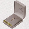 """14K Gold Plated Sterling Silver Cross Necklace with Diamond-Like CZ Stone On 18"""" Chain"""