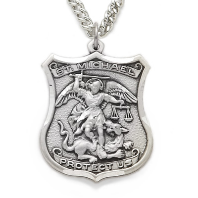 Sterling silver engraved st michael shield medal patron of police sterling silver engraved st michael shield medal patron of police officers on 24 chain aloadofball Image collections