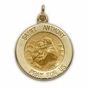 "5/8"" 14K Gold Round St. Anthony Medal, Patron of Lost Articles"