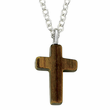 "Sterling Silver Cross Necklace with  Tiger Eye Back on 22"" Chain"