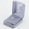 Sterling Silver Bow Cross Necklace with Cubic Zirconium Sapphire & Crystal Stones