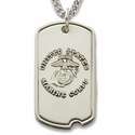 "Sterling Silver U.S. Marine Corps Dog Tag, St. Michael on Back on 24"" Chain"