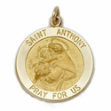 "3/4"" 14K Gold Large Round St. Anthony Medal, Patron of Lost Articles"