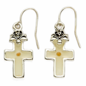 Silver Plated Cross Earrings with Mustard Seed