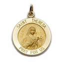 "5/8"" Diameter 14K Gold Round St. Theresa Medal, Patron of Aviation, Missions"