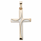 "1 & 1/8"" 14K Gold Wave Design Cross"
