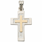 Sterling Silver Cross with 14K Gold Accents