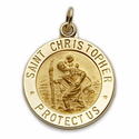 "5/8"" 14K Gold Round St.Christopher Medal With Polished Border"