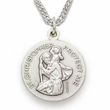 """Sterling Silver Girl's Gymnastic Medal, St. Christopher on Back, 18"""" Chain"""