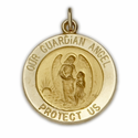 "5/8"" 14K Gold Round Guardian Angel Medal"