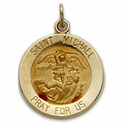 "9/16"" 14K Gold  Round St. Michael Medal with a Polished Border, Patron of Police"
