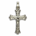 "1 & 1/4""14K White Gold Crucifix Pendant in a Budded Ends Design with a Florentine Finish"