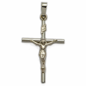 "1 & 1/8"" 14K White Gold Crucifix Pendant in a Stick Style Design"