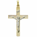 "1 & 1/4"" 14K Gold Crucifix Pendant in a 2-Tone Design"
