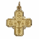 "3/4"" 14K Gold First Communion Four Way Medal"