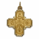 "7/8"" 14K Gold Four Way Medal"