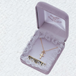 """Sterling Silver 14K Gold Finish Baby Cross Necklace in a Stick Design on 13"""" Chain"""