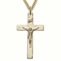 "14K Gold Filled Crucifix Necklaces in a Polished Finish and Engraved Design on 24"" Chain"