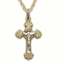 "Sterling Silver 14K Gold Finish Crucifix Necklace in a 2-Tone Budded Ends Design on 18"" Chain"