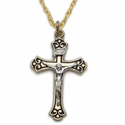 "Sterling Silver 14K Gold Plated Budded Ends Enameled Crucifix on 18"" Chain"