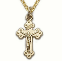 "14K Gold Over Sterling Silver  Crucifix Necklace in a Budded Ends Design on 16"" Chain"