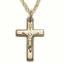 "14K Gold Filled Crucifix Necklace in a Polished Finish Design on 18"" Chain"