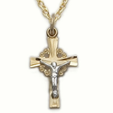"Sterling Silver 14K Gold Finish  Crucifix Necklace in a 2-Tone and Filigree Design on 18"" Chain"