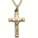 "Sterling Silver 14K Gold Plated Crucifix Necklace in a Satin Finish and Polished End Design on 18"" Chain"